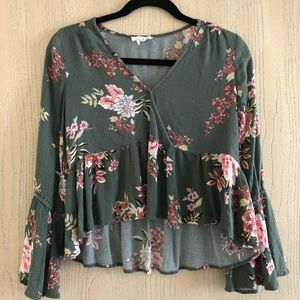 Ivy + Main green/pink floral wrap bell sleeve top